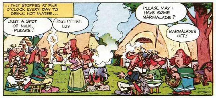 Asterix And Obelix Drinking Tea