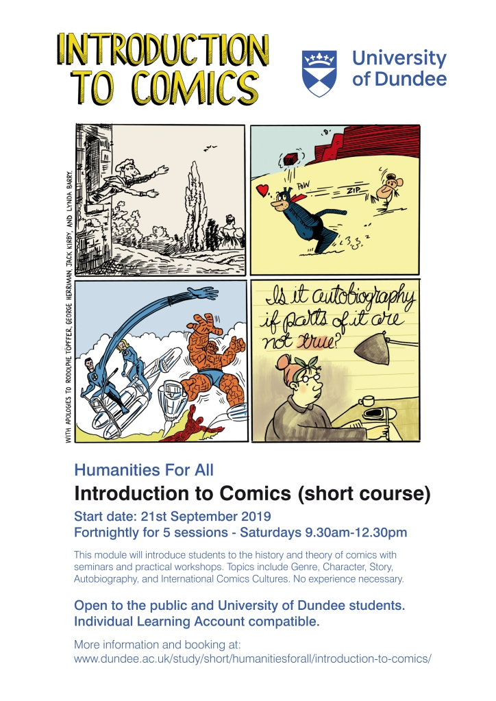 Poster for Intro to Comics module at University of DUndee