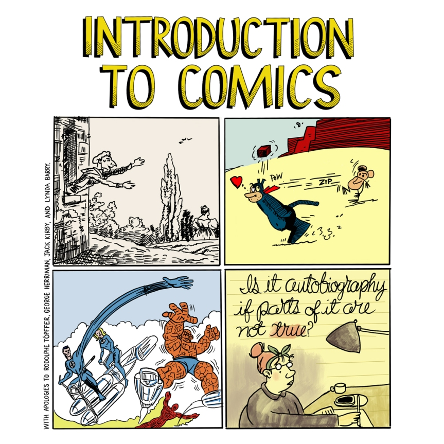 EN11008 Introduction To Comics flyer depicting comic book characters
