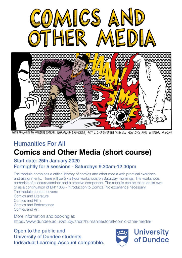 Poster advertising the Comics and Other Media module