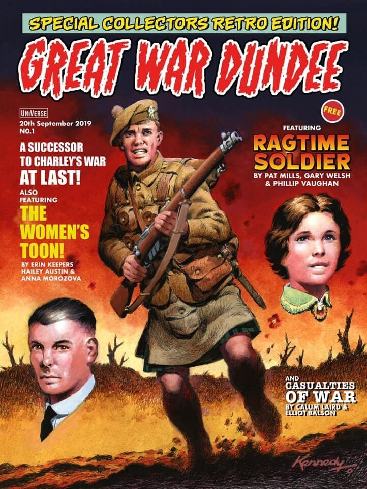 Great War Dundee comic cover featuring Ian Kennedy painting of a Scottish soldier