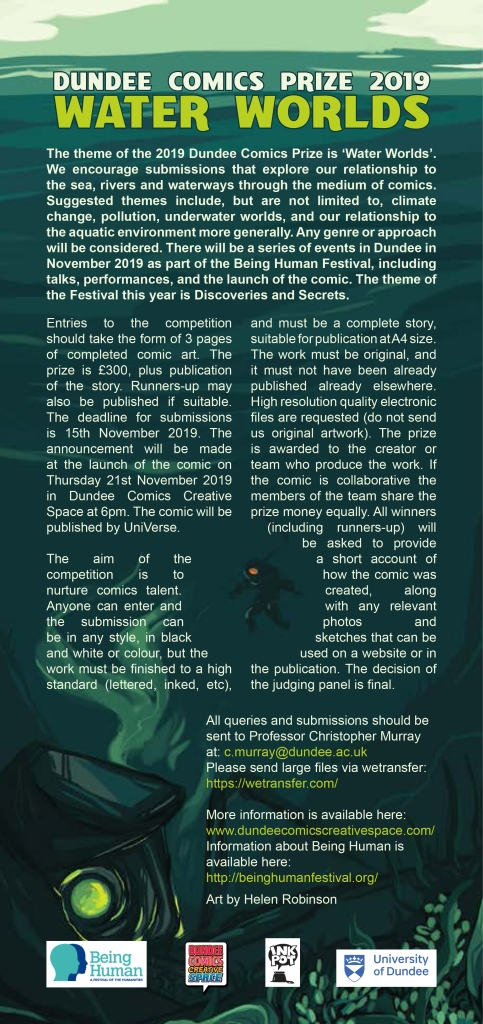 waterworlds poster for dundee comics prize with undersea artwork by helen robinson