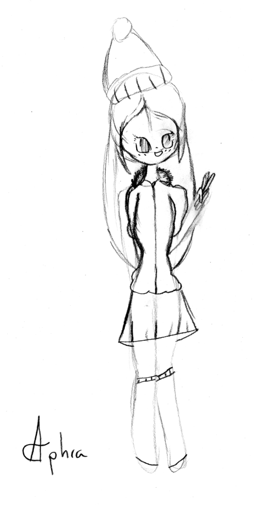 Manga style drawing of girl doing a peace sign with her hand