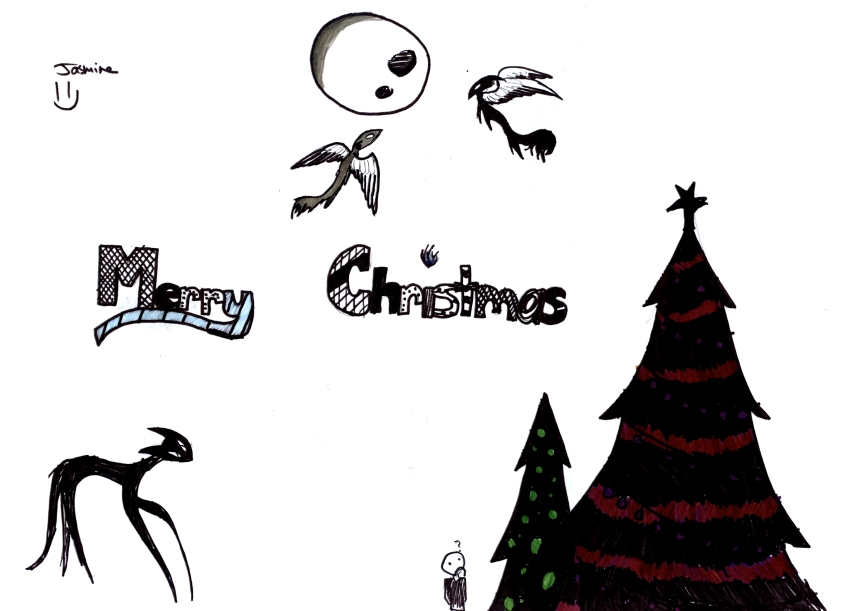 Spooky style christmas drawing with trees and a cat