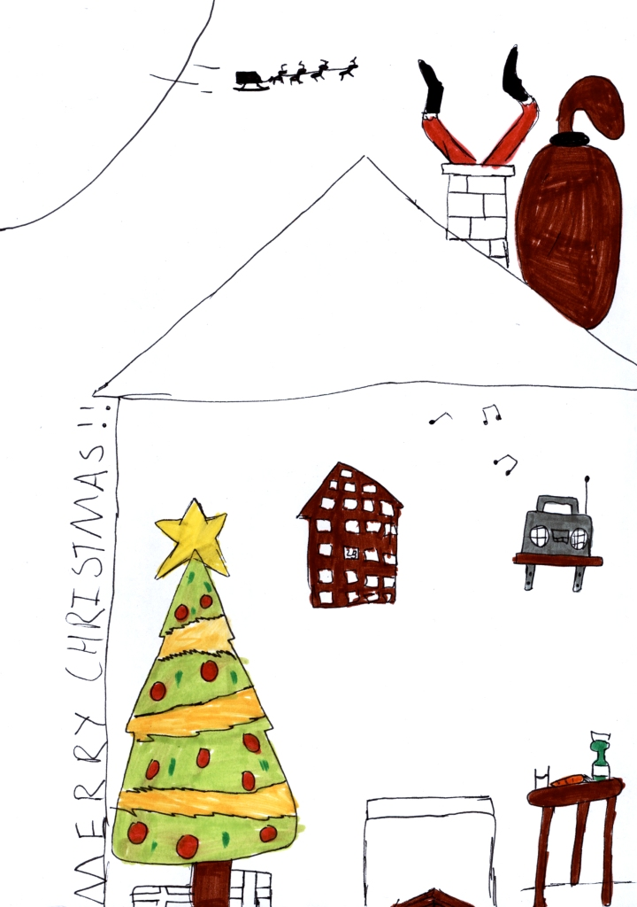 Merry Christmas drawing with Santa stuck in a chimney above a room with a christmas tree and music playing