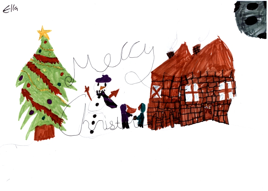 Merry Christmas drawing with christmas tree, snowman, house, and moon