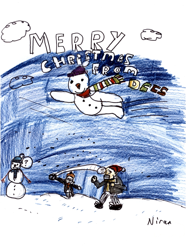 Merry Christmas from DCCS image with flying snowman and snowball fight
